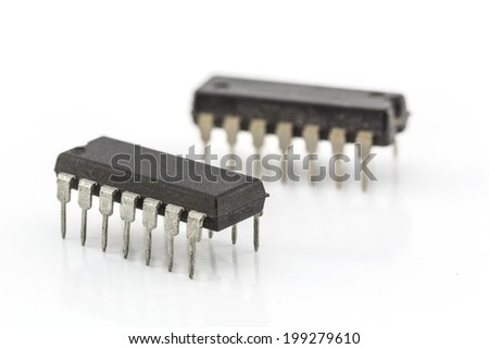 closeup integrated circuit isolated on white base - stock photo