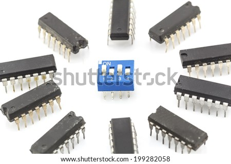 closeup integrated circuit isolated on white base