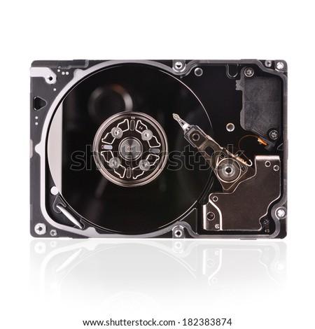 Closeup internal computer hard disk - stock photo