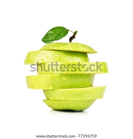 closeup isolated sliced green apple