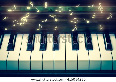Closeup keyboard of piano with music notes, musical instrument - stock photo