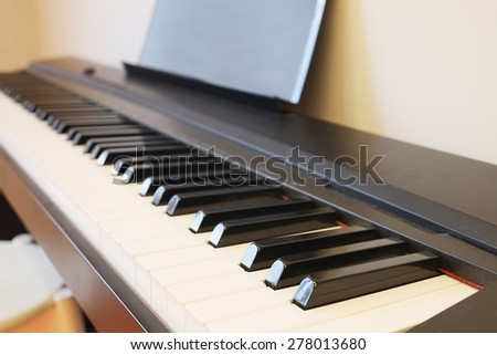 Closeup keyboard piano - stock photo