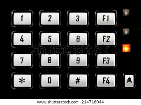 closeup keypad of finger print scan machine - stock photo