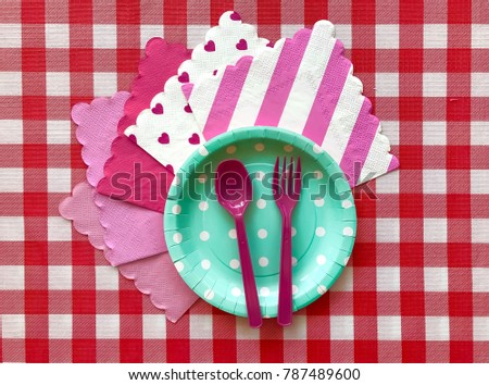 Closeup light green polka dot paper plate with pink spoonfork and printed pink napkin  sc 1 st  Shutterstock & Closeup Light Green Polka Dot Paper Stock Photo (100% Legal ...