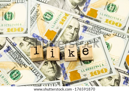 closeup like wording stack on dollar banknotes, money and currency concept and idea - stock photo