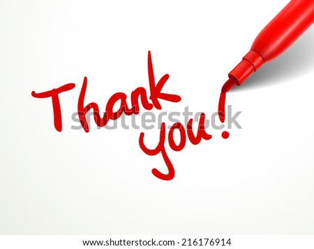 closeup look of red pen writing thank you over document - stock photo