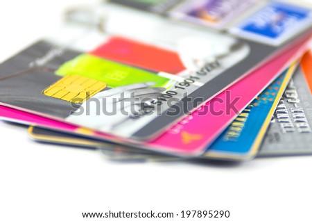 Closeup lot of Credit card - stock photo