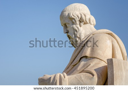 Closeup Marble Statue of the Greek Philosopher Plato - stock photo