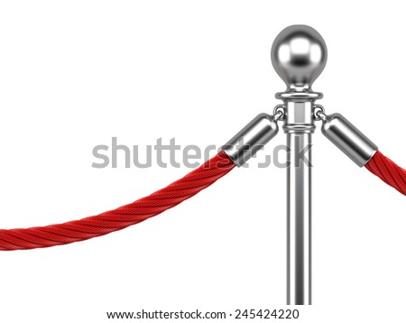 closeup metallic stanchions with rope isolated on  white background - stock photo