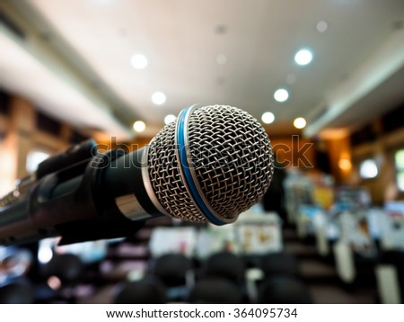closeup microphone in meeting room or conference room of school or university
