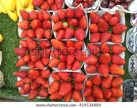 Closeup mixed winter fresh vegetables and organic fruits in a market, Switzerland - stock photo