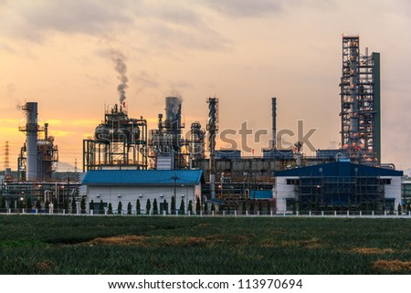 Closeup Morning Sunlight At Petroleum Refinery