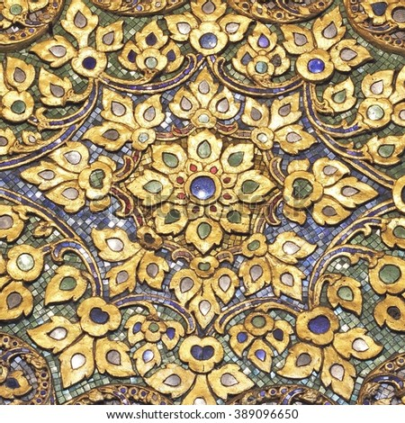 closeup mosaic pattern of Thai style at Temple of Wat Pho Bangkok, Thailand - stock photo
