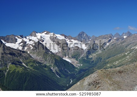Closeup mountains scenes in national park Dombai, Caucasus, Russia, Europe.