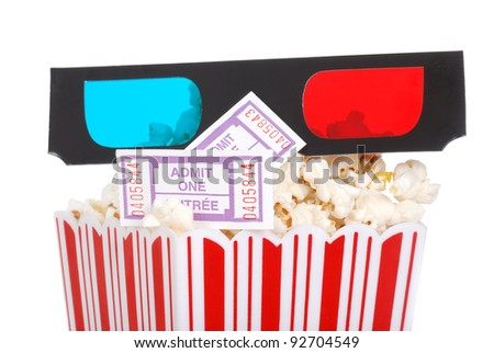 closeup movie tickets popcorn and 3D glasses