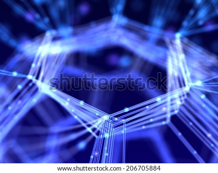 Closeup network. Abstract nanotechnology 3d illustration. - stock photo