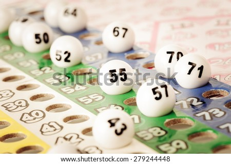 closeup number on plastic Bingo ball - stock photo