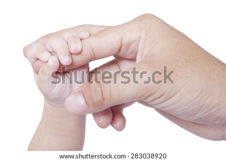 Closeup of a baby hand touching father finger, isolated over white background - stock photo