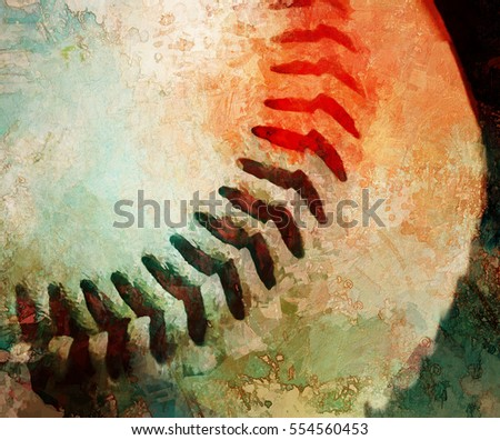 Closeup of a baseball transformed into a colorful abstract digital painting