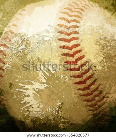 Closeup of a baseball transformed into a digital painting