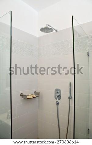 Closeup of a bathroom - stock photo