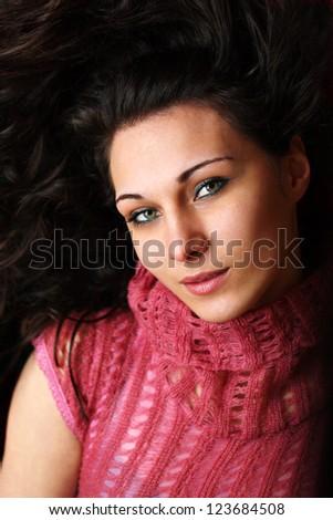 Closeup of a beautiful brunette - stock photo