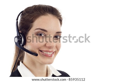 Closeup of a beautiful business customer service woman smiling with copyspace isolated over white