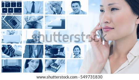 Closeup of a beautiful businesswoman using cellphone against composite image of businessmen using laptop