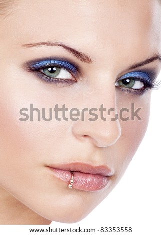 closeup of a beautiful women face - stock photo