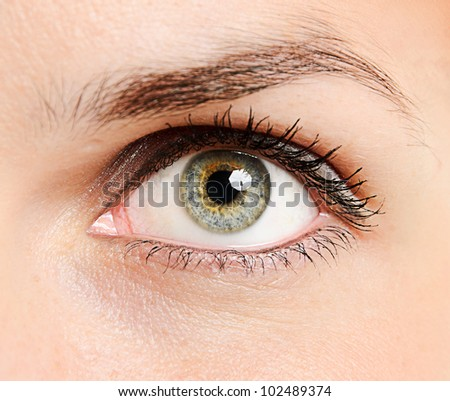 Closeup of a beautiful young woman's eye - stock photo