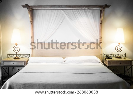 Closeup of a bed Ready for Tourists - stock photo