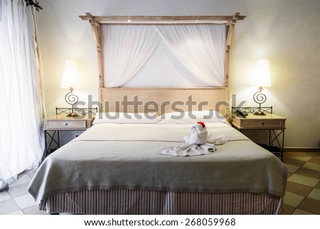 Closeup of a bed with Decoration Ready for Tourists - stock photo