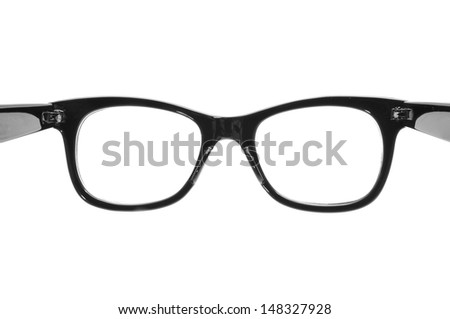 closeup of a black plastic rimmed eyeglasses on a white background, open as in the action to put them on - stock photo