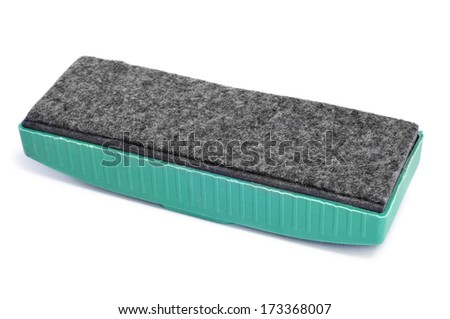 closeup of a blackboard eraser on a white background