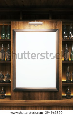 Closeup of a blank whiteboard in pub interior. Mock up, 3D Render - stock photo