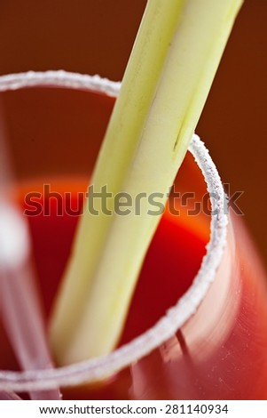 closeup of a bloody mary cocktail garnished with a celery sick  - stock photo