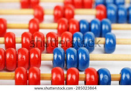 closeup of a blue and red abacus - stock photo