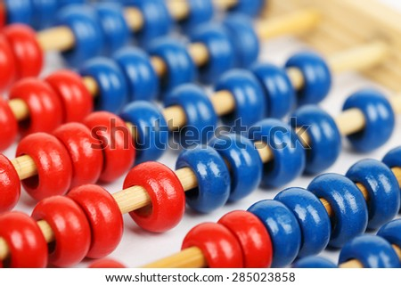 closeup of a blue and red abacus, full frame - stock photo