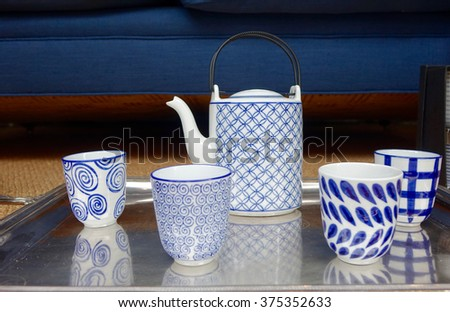 closeup of a blue-white tea or coffee set