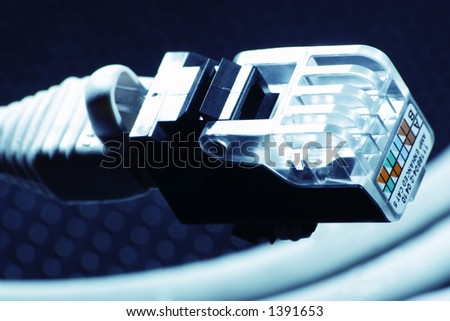Closeup of a blue wire, nice light, very hi-tech. - stock photo