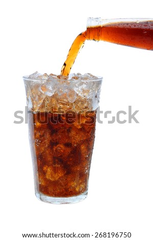 Closeup of a bottle of soda pouring into a glass filled with ice. Only the neck of the cola bottle is shown. Vertical format over white.