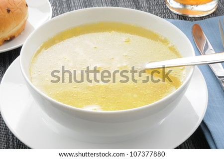 Closeup of a bowl of chicken noodle soup