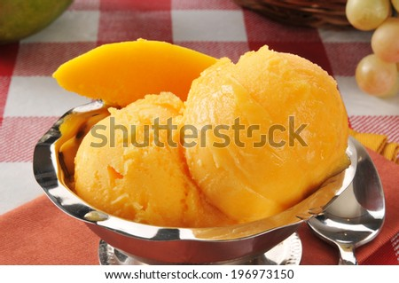 Closeup of a bowl of mango sorbet or sherbet on a picnic table - stock photo