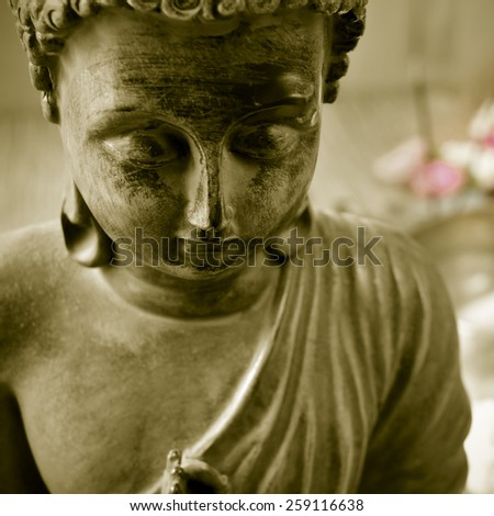 closeup of a buddha with flowers in the background as offerings - stock photo