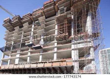 Closeup of a building under construction - stock photo