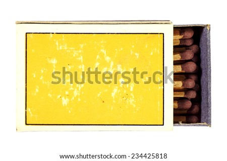 Closeup of a bundle of matchsticks in a box, with blank space on the cover for text. - stock photo