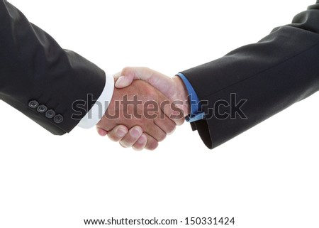 Closeup of a business handshake on a white background  - stock photo