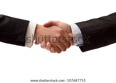 Closeup of a business handshake on white background
