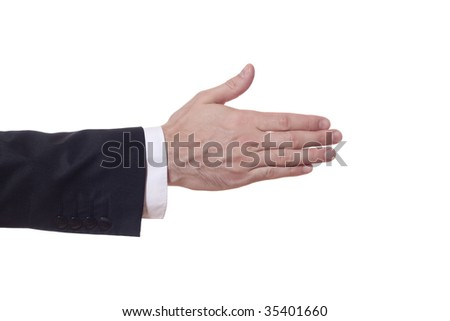 closeup of a businessman arm who extends his hand