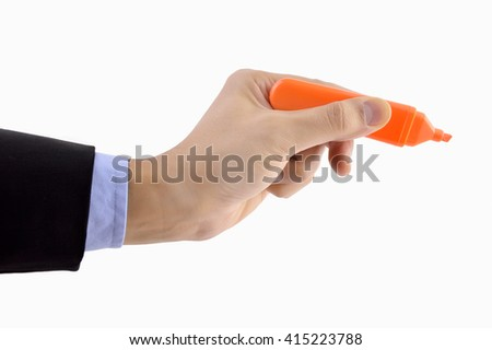 Closeup of a businessman hand writing  with a marker on a white background with copyspace - stock photo